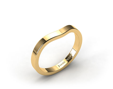 18k  Yellow Gold 2.3mm Curved Wedding Band